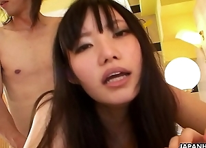 Small teat cloudy Oriental honey fucked by her skinny lover