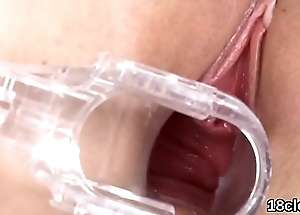 Lovesome nympho is gaping pink snatch in close-up and cumming