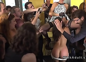 Anal gangbang coupled with pussy lick in public bar