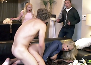 Curly-haired guy bonks friend's mom Julia Ann until they are adulterated