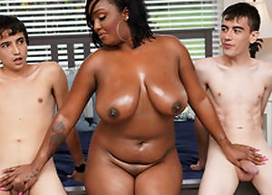 Ebony Mom Having Fun Relating to Stepson added to His Friend